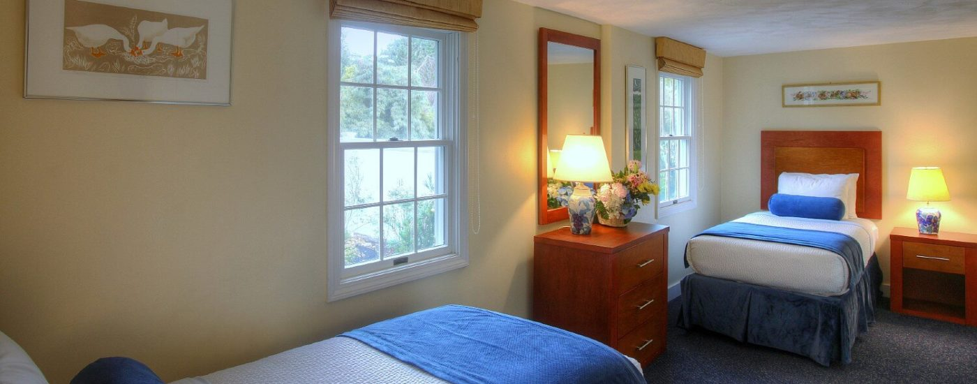 Bedroom with two twin beds, each under a bright window with one dresser and mirror