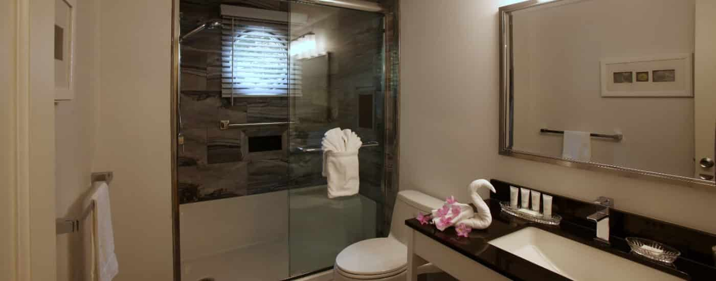 Bathroom with large walk in shower, glass doors and black grey tiled wall, black granite sink top and large mirror on wall