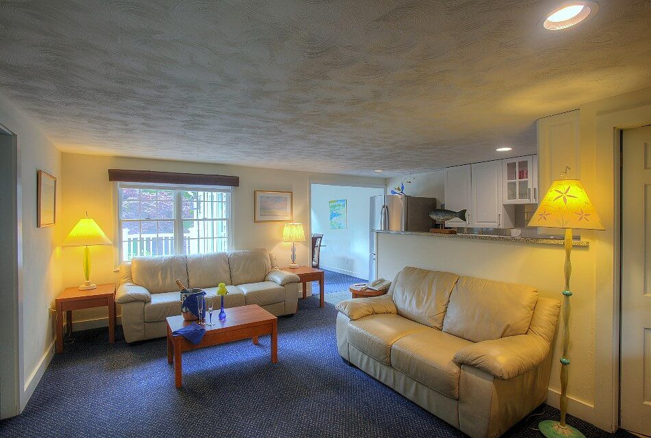 Living area of a cottage with two cream leather couches, coffee table, kitchenette and bright window
